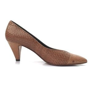 Gucci Vintage Green Label Woven Cap Toe Pumps